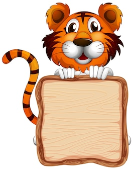 Modelo de tabuleiro com um tigre fofo em fundo branco