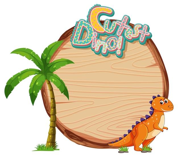 Modelo de tabuleiro vazio com um personagem de desenho animado de dinossauro fofo em fundo branco