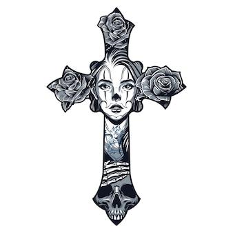 Modelo de tatuagem de estilo chicano