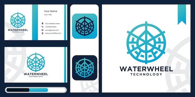 Modelo de tecnologia de água do logotipo da roda d'água projeto do logotipo da roda d'água.