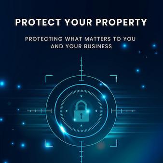 Modelo de tecnologia de proteção de dados com ícone de cadeado