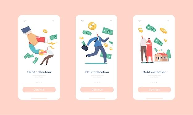 Modelo de tela a bordo da página do aplicativo móvel de cobrança de dívidas. mão enorme com ímã atraindo dinheiro de personagens minúsculos que tentam escapar
