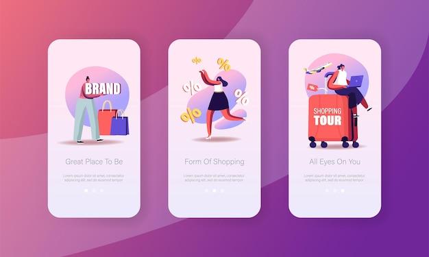 Modelo de tela a bordo da página do aplicativo móvel de compras.