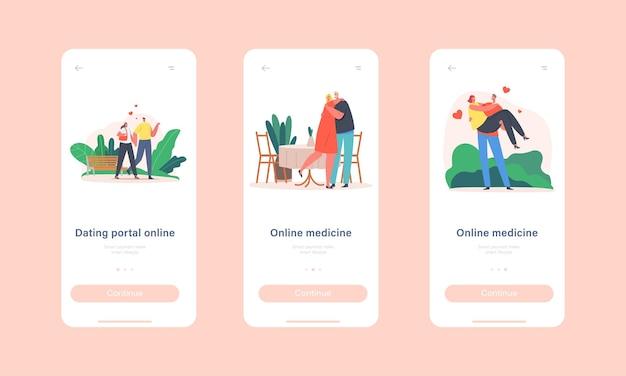 Modelo de tela a bordo da página do aplicativo móvel online de namoro. caminhada de homem e mulher, relações amorosas, união