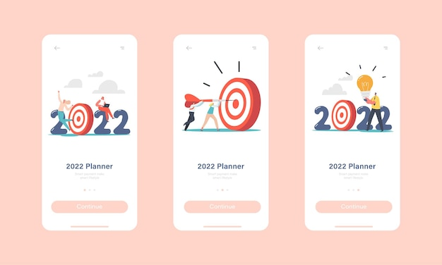 Modelo de tela a bordo da página do aplicativo móvel para cumprimento de metas de ano novo de 2022. personagens de negócios atiram dardos para o alvo, reforço de carreira de funcionários de escritório, alcançar o conceito de objetivo. ilustração em vetor desenho animado
