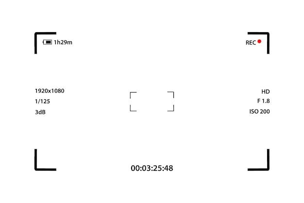 Modelo de tela da câmera. interface da câmera. visor. tela de gravação de vídeo. interface da câmera digital com visor. grave o visor da câmera de vídeo. tela do visor do quadro do gravador de vídeo