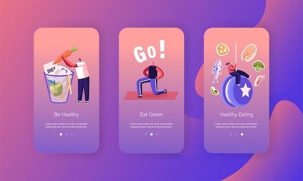 Modelo de tela da página do aplicativo móvel da falha da dieta.