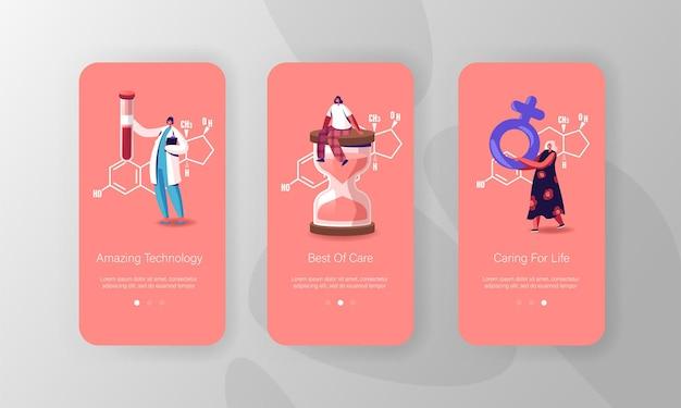 Modelo de tela da página do aplicativo móvel para saúde, diagnóstico e tratamento de hormônios estrogênicos.