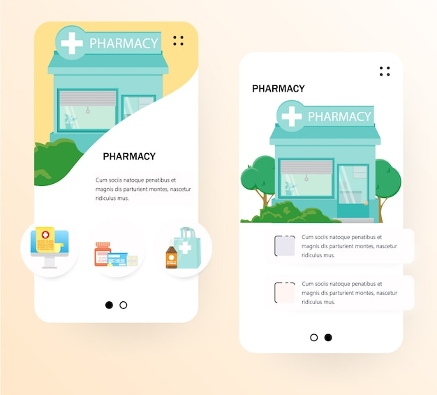 Modelo de tela de integração de farmácia