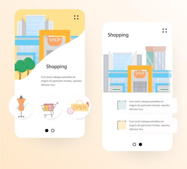 Modelo de tela de integração do shopping center