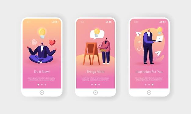 Modelo de tela de página de aplicativo móvel de inspiração ou ideia criativa