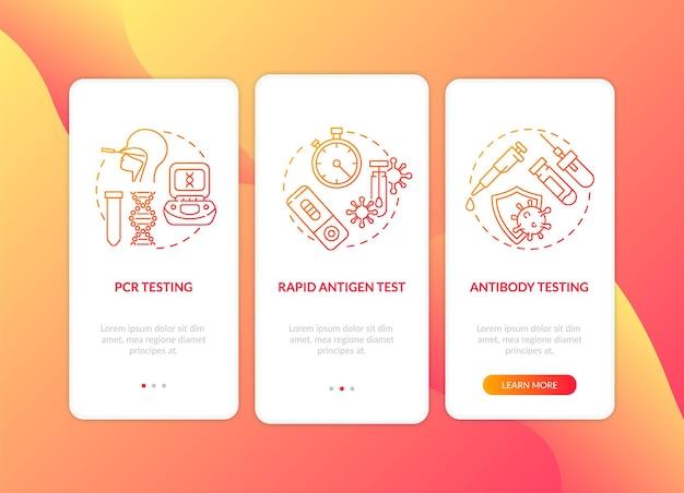 Modelo de tela de página de aplicativo móvel de integração de tipos de teste covid