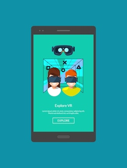 Modelo de tela de telefone móvel com ilustração de elementos de realidade virtual em estilo simples