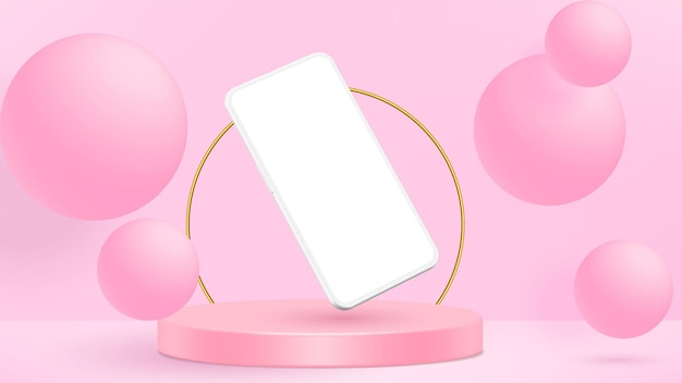 Modelo de tela em branco de smartphone moderno sem moldura.