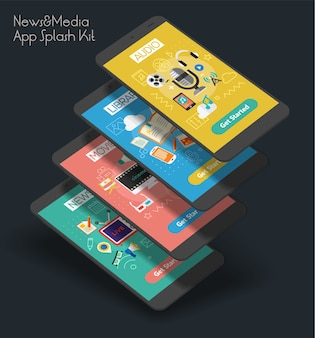 Modelo de tela inicial de aplicativo móvel de ui de fontes multimídia responsivo com ilustrações da moda