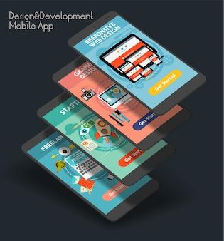 Modelo de tela inicial de aplicativo móvel iu responsivo e de desenvolvimento com ilustrações da moda