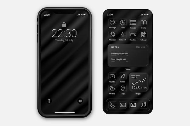 Modelo de tela inicial elegante para smartphone