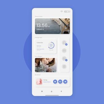 Modelo de tela inicial neumorph para smartphone