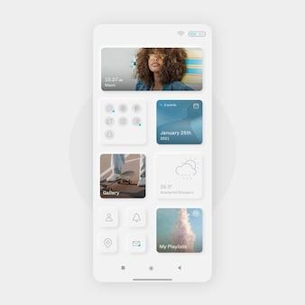 Modelo de tela inicial neumorph realista para smartphone