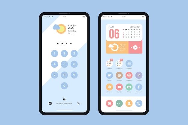 Modelo de tela inicial pastel para smartphone