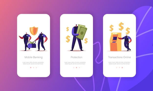 Modelo de tela integrada da página do aplicativo money mobile