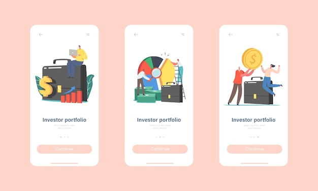 Modelo de tela integrada da página do aplicativo móvel da carteira de investidores. personagens minúsculos na pasta enorme e gráfico de pizza. investir o conceito de negociação profissional do mercado de ações. ilustração em vetor desenho animado