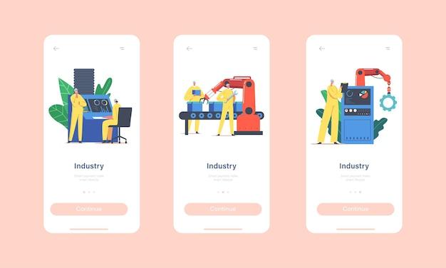 Modelo de tela integrada da página do aplicativo móvel da indústria. linha de montagem com braços robóticos, produção automatizada de operários de fábrica