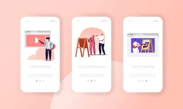 Modelo de tela integrada da página do aplicativo móvel de aprendizagem on-line