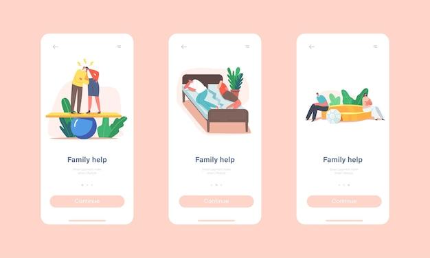 Modelo de tela integrado da página do aplicativo móvel family help. cônjuge de personagens casal em problemas, briga, marido e mulher escândalo, dormir na cama rachada, conceito de juro. ilustração em vetor desenho animado