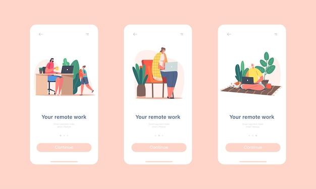 Modelo de tela integrado da página do aplicativo móvel remote work. personagens freelancers ou terceirizados trabalhando em casa