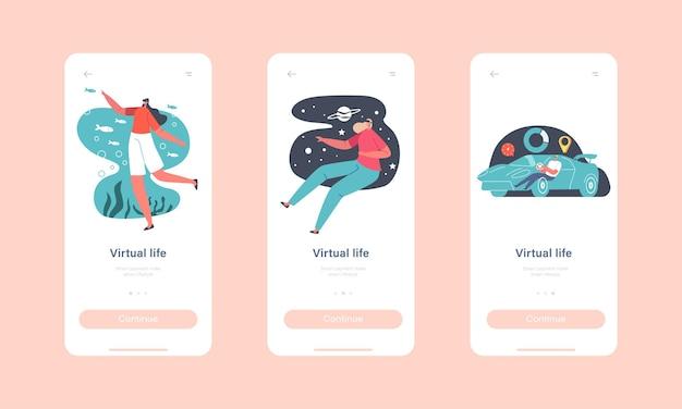 Modelo de tela integrado da página do virtual life mobile app. personagens usam óculos vr para experiência de realidade aumentada. pessoas em goggles drive car, space, ocean travel concept. ilustração em vetor de desenho animado