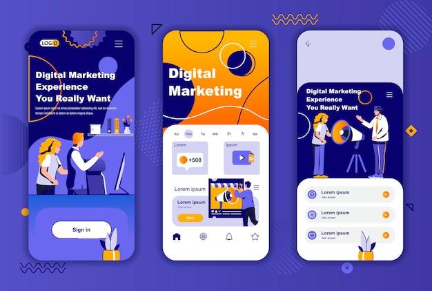 Modelo de telas de aplicativos móveis de marketing digital para histórias de redes sociais