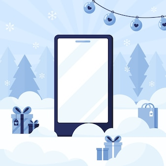 Modelo de telefone com uma tela vazia em um fundo de ano novo e natal com árvores e presentes. azul