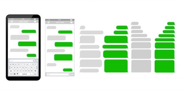 Modelo de telefone de mensagem conversando bolhas de modelo de sms