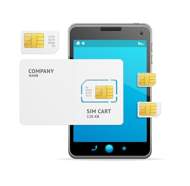 Modelo de telefone preto e cartão sim. ilustração vetorial