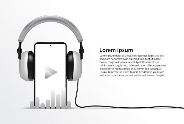 Modelo de telefone realista para aplicativo de streaming de música