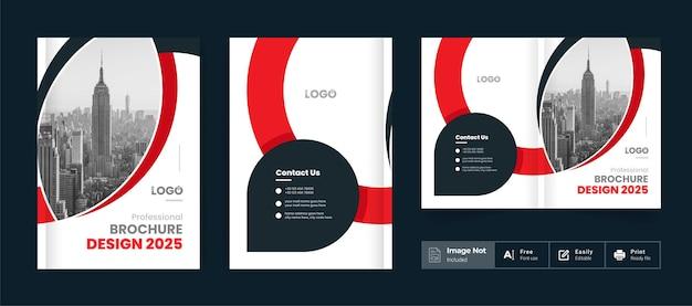 Modelo de tema de capa de design de brochura comercial colorido moderno abstrato layout de brochura com duas dobras