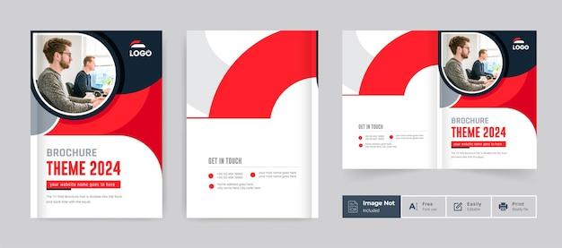 Modelo de tema de capa de design de brochura comercial cor vermelha moderna brochura com duas dobras layout minimalista