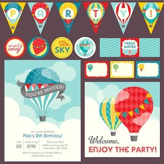 Modelo de tema de festa de balão de ar quente