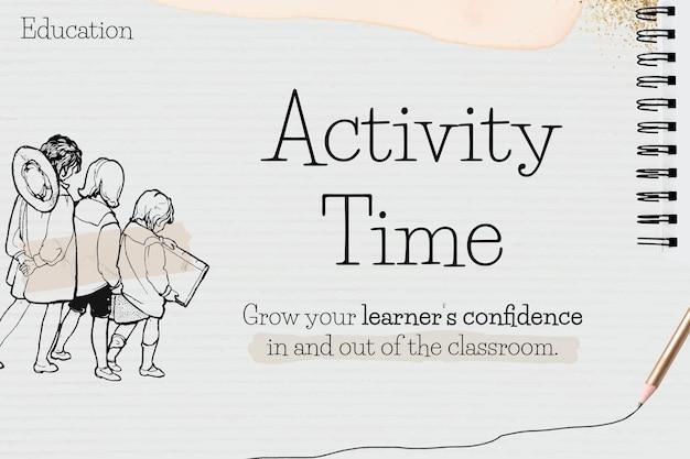 Modelo de tempo de atividade em papel com doodle de aluno
