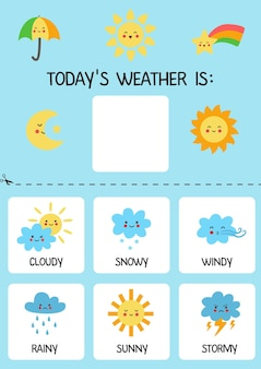 Modelo de tempo de hoje para crianças. gráfico meteorológico.