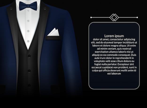 Modelo de terno de negócios com gravata preta e camisa branca em estilo realista