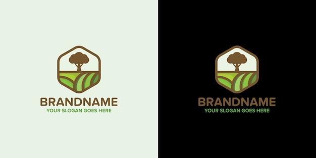 Modelo de terra de árvore de logotipo de agricultura criativa