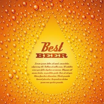 Modelo de texto de cerveja cerveja em bolhas de água condensada