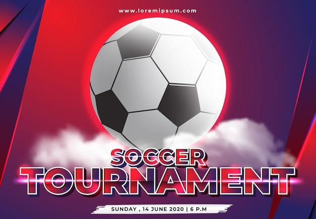 Modelo de torneio de futebol com ornamento de nuvem