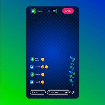 Modelo de transmissão ao vivo da interface do instagram