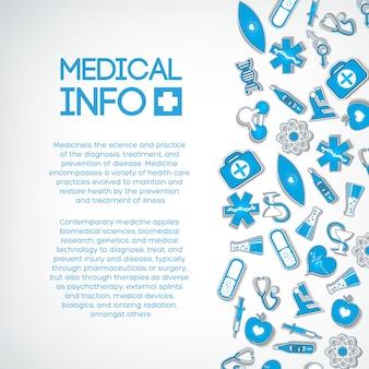 Modelo de tratamento médico com texto e ícones de papel azul na luz