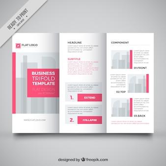 Modelo de três dobras de negócios com detalhes rosa
