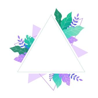 Modelo de triângulo com folhas verdes e roxas com lugar para texto.