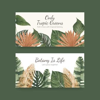 Modelo de twitter com conceito de botânica tropical, estilo aquarela